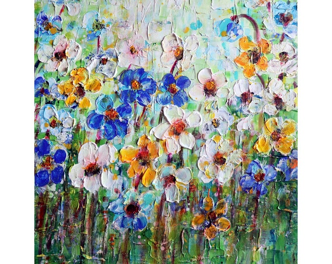 Oil Original Handmade Painting Flowers Field Colorful Textured One of a Kind Ready to Ship Artwork