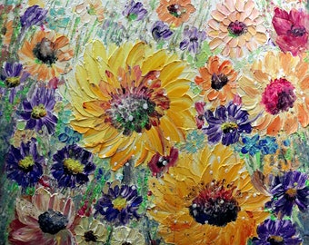 Summer Meadow Flowers Original Oil Painting on Large Canvas Ready to Ship Art by Luiza Vizoli