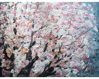 White Gray Pink Flowers Blossom SAKURA Original Large Painting Abstract Canvas Huge Artwork Spring MUSIC