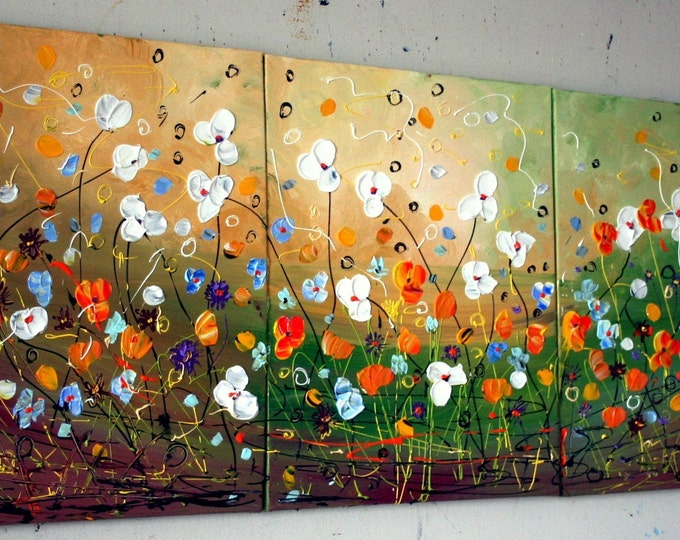 OIL SPRING FLOWERS White Orange Blue Original Triptych Painting on Stretched Canvases by Luiza Vizoli