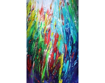 Abstract Extra Large 72x36 Canvas TROPICAL LEAVES Colorful Art by Luiza Vizoli