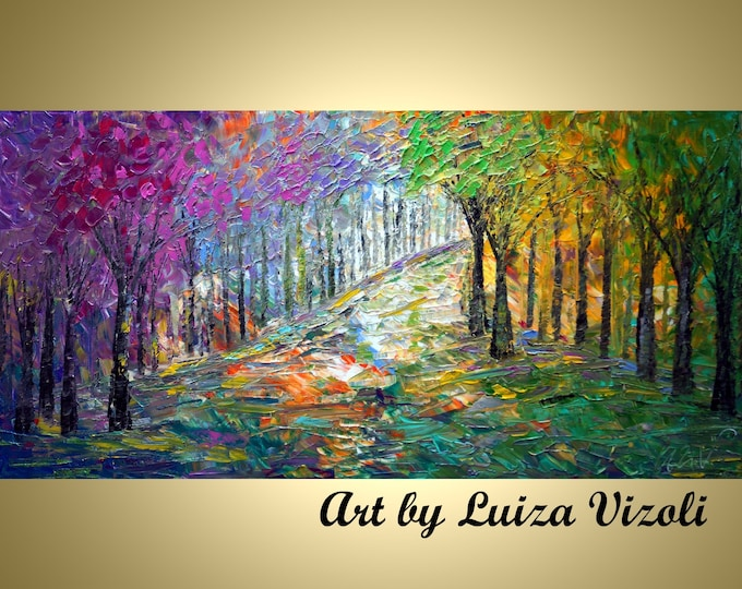 SPRING MORNING Original Abstract Landscape Oil Painting Trees Forest Art by Luiza Vizoli