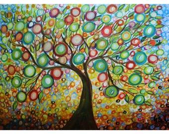 Olive TREE of Life Large Original Painting 40x30 Art by Luiza Vizoli Whimsical Landscape