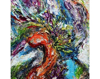Flower for YOU in Tuscany Colors Abstract Summer Impasto Oil Painting Happy Summer Vacation - From Europe With Love Original Art For Office
