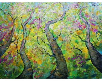 Looking Up to A Gorgeous SPRING Birch Trees Original Painting Large Canvas Ready to Ship