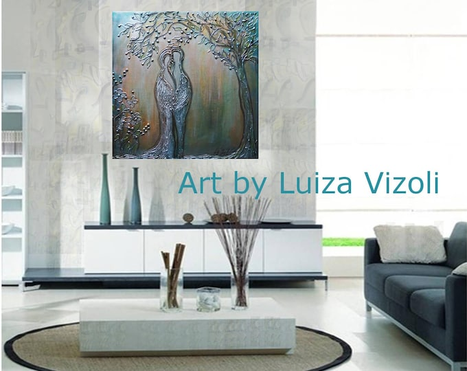 Original Painting Metallic Collage on Canvas MOON WEDDING Art by Luiza Vizoli