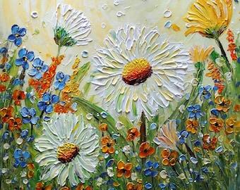 Chamomile Flowers Forget Me Not Spring Orange Yellow Green Impasto Oil Painting Ready to Ship Art by Luiza Vizoli