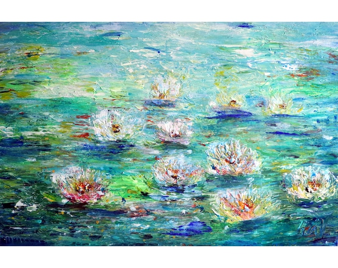 ABSTRACT WATER LILIES After Rain Flowers Impasto Oil Painting Blue Green White Cream Purple Orange