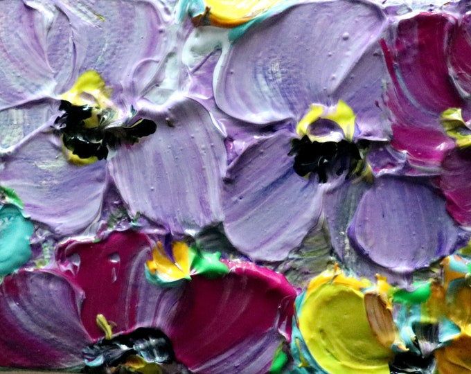 PETUNIAS ACEO Mini Oil Painting Purple Lavender Yellow Miniature Canvas