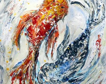 KOI FISH Abstract Painting Palette Knife Textured Artwork Modern Art on square Canvas Japanese Carp
