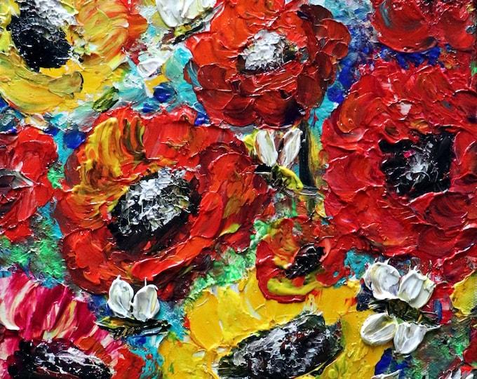 Poppy Flowers and Bees Original Oil Painting Impasto Textured Handmade Painting Art by Luiza Vizoli