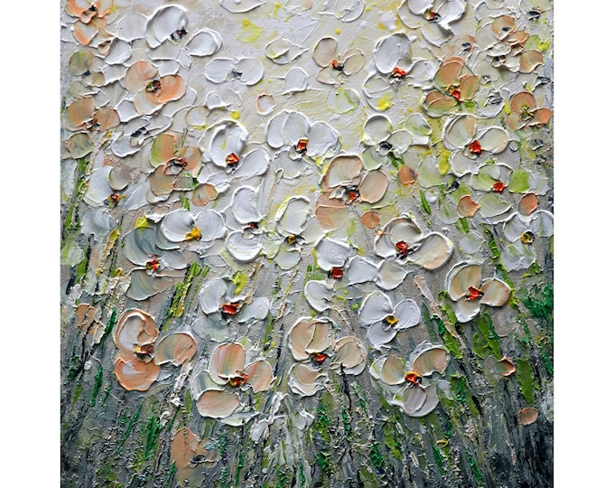 Daisy Abstract Wildflowers Oil painting Original Art on Canvas