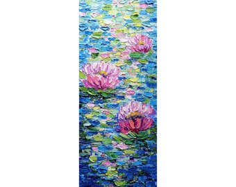 Water LILY Tall Oil Painting thick  impasto vertical wall art ORIGINAL canvas abstract, Long Narrow Heavy Textured