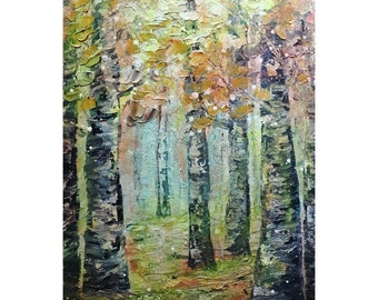 Morning Fog BIRCH TREES Original Oil Painting Landscape Impressionism