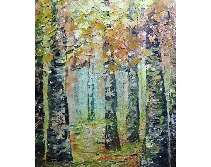 Morning Fog BIRCH TREES Original Oil Painting Landscape Impressionism