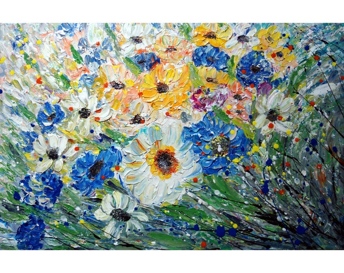 Flowers Painting Touch of Blue Meadow Oil Painting on Canvas ready to hang, art for business