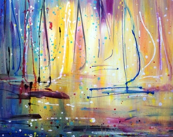 SUNRISE Ocean Aruba Abstract Boats Painting Pollock Drip Painting perfect gift for office, living space ,beach house or cabin on the lake