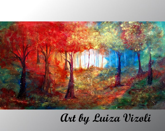 MAGICAL FOREST 60x36, 72x36 Original Abstract Large Painting Trees Landscape Summer Fall Huge Canvas  Art by Luiza Vizoli