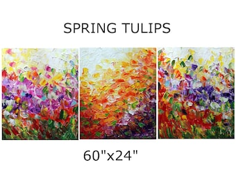 SPRING TULIPS 60x24 Extra Large Painting Triptych Artwork Original Art made to order, other dimensions available