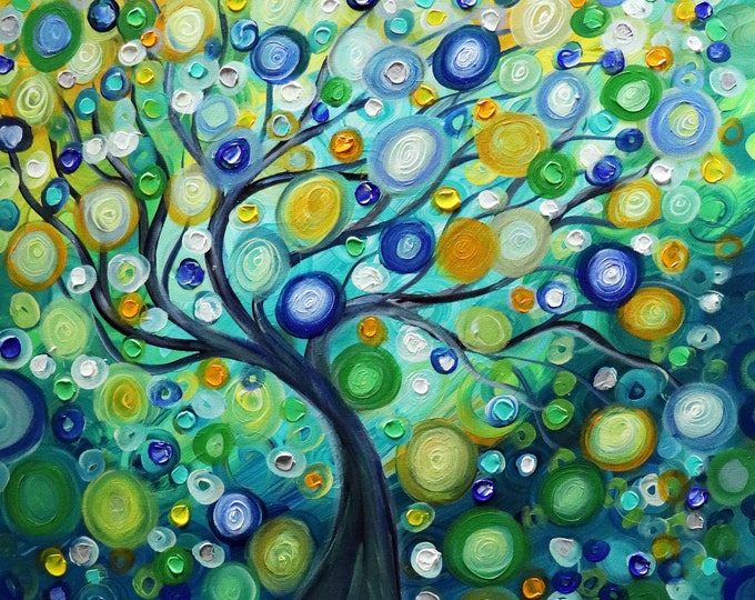 Rain Tree of Life painting inspired by the summer rains, Abstract Painting, Large Art, Oil Painting, Original Painting