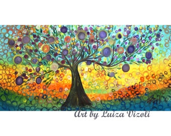 XXL ORiginal Extra Large Painting Original Whimsical Kalamata OLIVE Tree  Painting HUGE Canvas by Luiza Vizoli