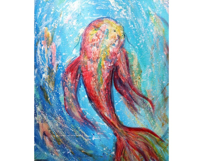 Red Koi Fish Turquoise Blue Waters Oil Painting by Luiza Vizoli Vertical Canvas