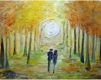 Romantic Wall Art Couple painting on canvas, Couple in Love Fall original Oil painting AUTUMN LOVE