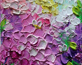 Pink Purple White Hydrangeas and Bees Original Painting Impasto Textured art on Small Canvas ready to hang, very colorful and happy painting