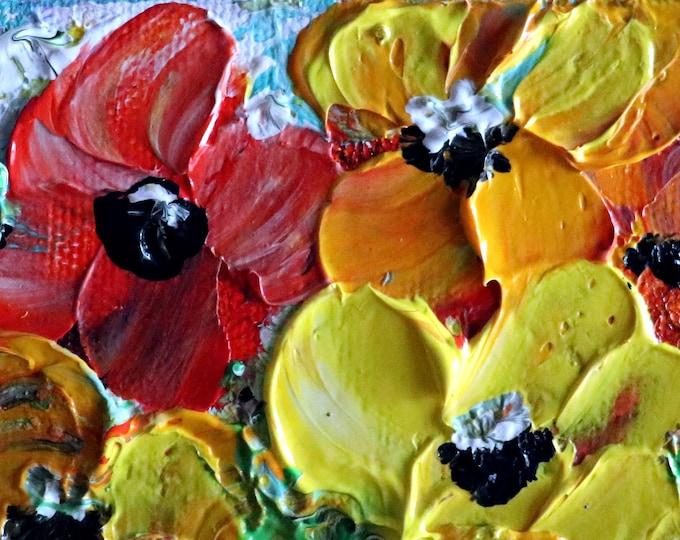ACEO Miniature Oil Painting RED Petunia Flowers Mini canvas Art by Luiza Vizoli