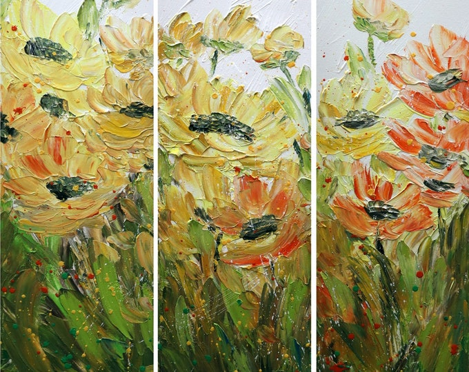 Sunflowers Field Original Oil Painting Impasto Flowers Triptych Handmade Multi panel Artwork 36x36