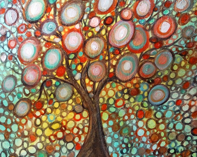 Fall Gold Tree Whimsical Colorful Textured Painting Ready to Ship 24x26 Canvas