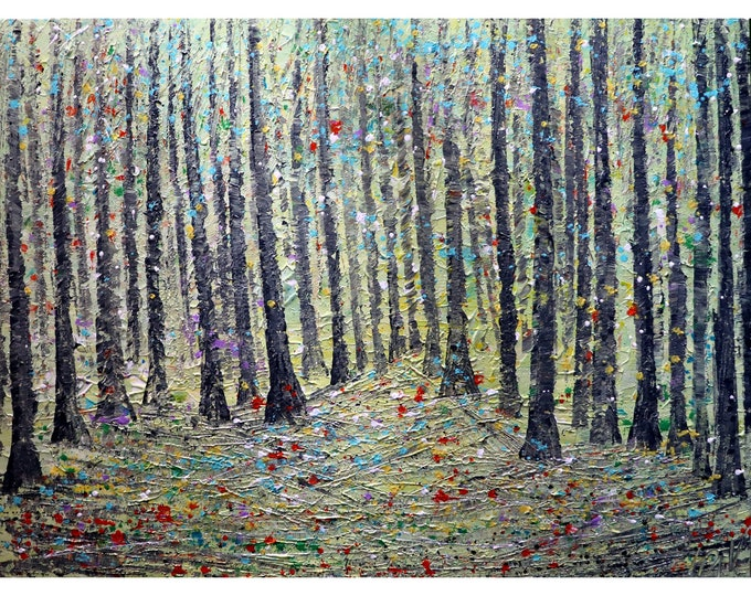Living Room Art NEW DAY Spring Forest Extra Large Canvas 48x36 Original Oil Painting Platte Impasto Textured Art by Luiza Vizoli