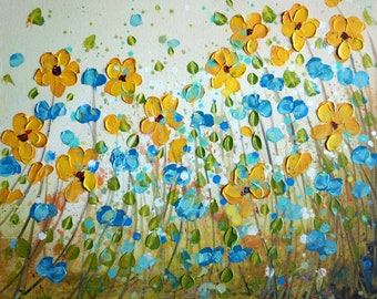 reserved for Nadine-Impasto Yellow Daisy Painting Forget Me Not Flowers Blue Cream Ivory Art by Luiza Vizoli
