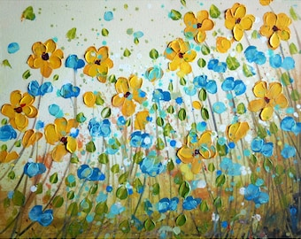 Impasto Yellow Daisy Painting Forget Me Not Flowers Blue Cream Ivory Art by Luiza Vizoli