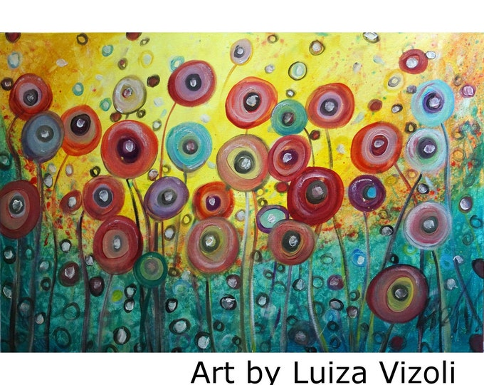 OIL PAINTING Poppy Flowers Whimsical Artwork Colorful Floral Canvas Ready to Ship 36x24