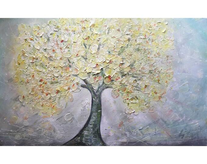 SAKURA MIST Abstract Original Painting Large Canvas Yellow Cream Gray Pink Art by Luiza Vizoli