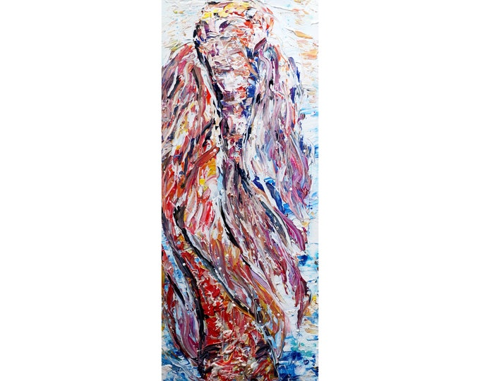 KOI FISH Colorful Pisces Abstract Painting Palette Textured Artwork Modern Art large canvas hung vertically or horizontally