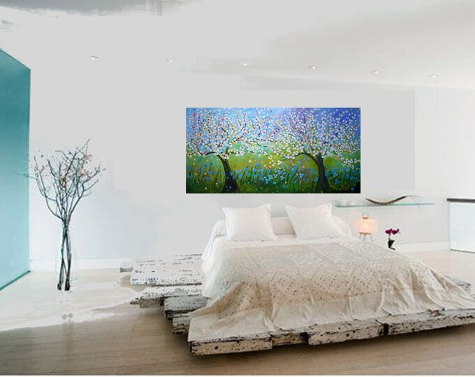 CHERRY SPRING DAYS Large Painting 72x36 Huge Canvas Modern Landscape Cherry Trees  Sakuras by Luiza Vizoli