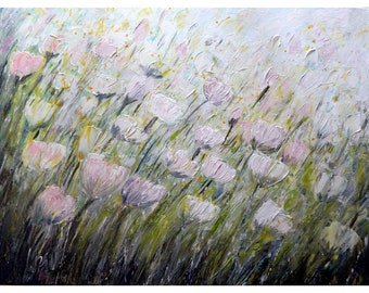 White Pink Tulip Flowers Green Gray Colors Original Handmade Oil Painting on Large Canvas 36x48