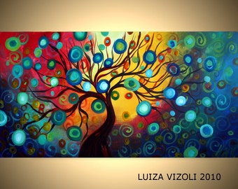 INNER JOURNEY Original Modern Fantasy Landscape Tree Oil Painting by Luiza Vizoli
