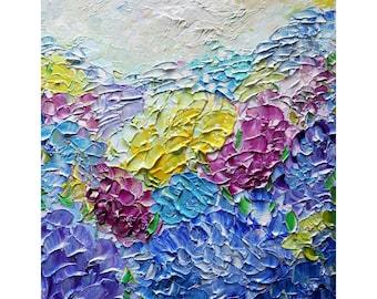 Summer Hydrangeas Garden Original Oil Painting Flowers Landscape Summer Floral Art by Luiza Vizoli ready to ship