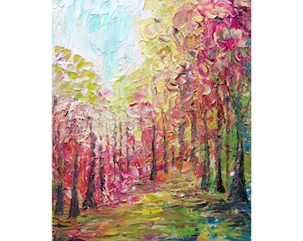 CHERRY BLOSSOM Japan in Spring Original Oil Painting Trees Landscape Large Canvas Ready to Ship