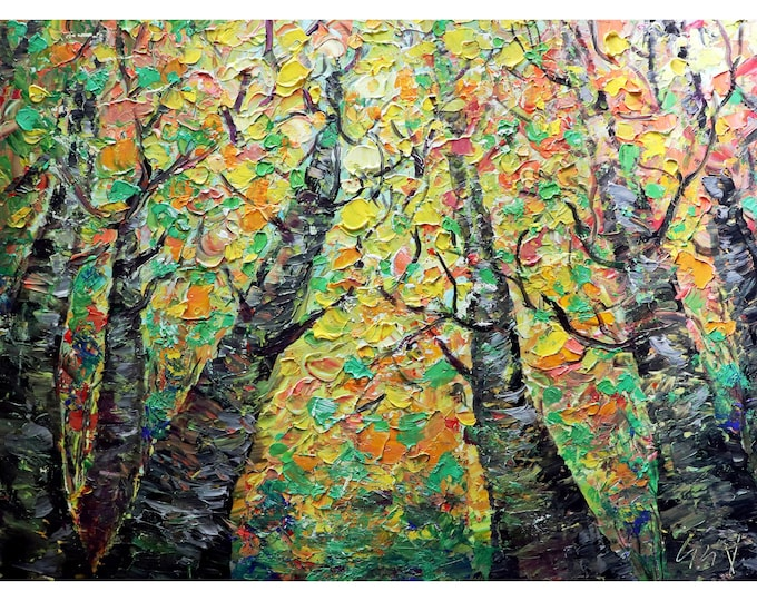 Changing Colors Looking Up Gorgeous FALL Birch Trees Original Painting Large Canvas Ready to Ship