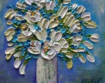 Snowdrop Bouquet Flowers Oil Painting Impasto Textured White Blue Wildflowers Art Canvas