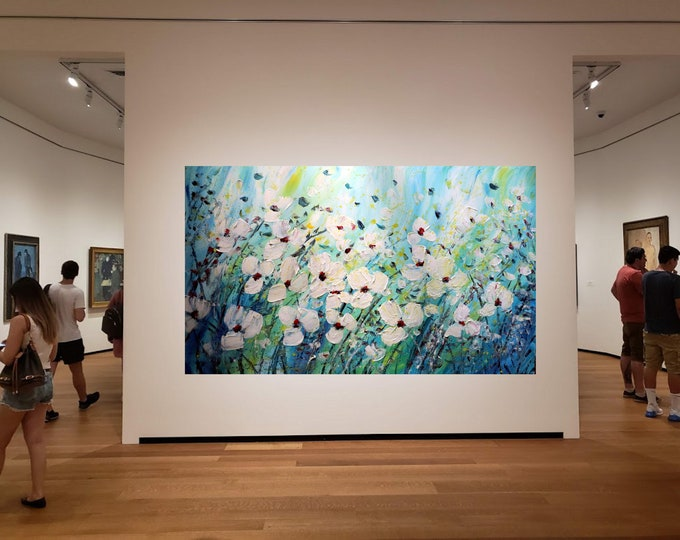 """Extra Large Painting Flowers Abstract White Blue Green WINDY DAY 60""""x 36"""" ready to hang canvas"""