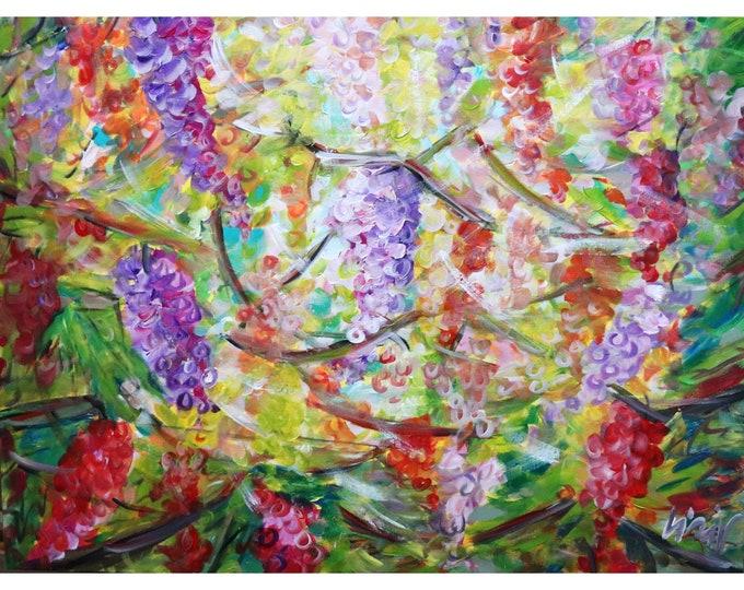 Ripe Grapes Countryside Vineyard Sunset Napa Valley Original Large Painting Ready to Ship 40x30 Art by Luiza Vizoli