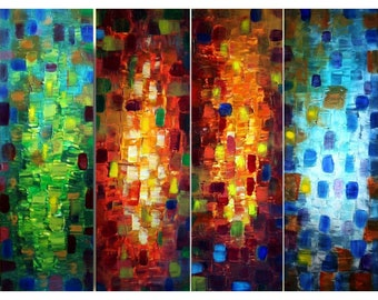 SEASONS Spring Summer Autumn Winter Original Abstract Knife Oil Painting  Set of 4 canvases 48x36 by Luiza Vizoli