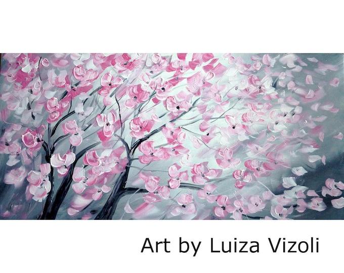 PINK GRAY Tree Original Oil Painting Pink CHERRY Blossom Gray Impasto Textured Large Fine Art by Luiza Vizoli