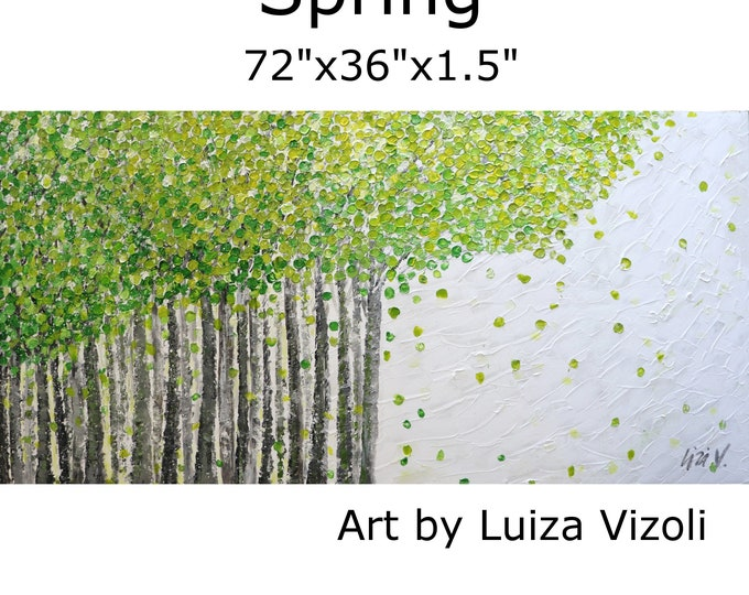 SPRING Painting 72x36 HUGE canvas Ready to Ship Living Room Art Green White Gray Art by Luiza Vizoli