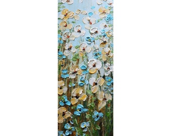 Wildflowers Blue Forget Me Not Daisy Tall Vertical Narrow Painting Impasto Oil Textured Canvas
